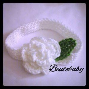 White rose 0-3 Month crochet headband